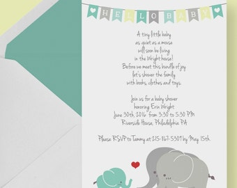 Gender Neutral Elephant Baby Shower Invitation -- Printable File