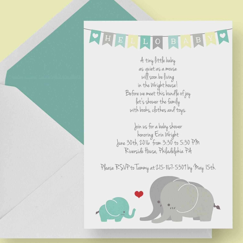 Gender Neutral Elephant Baby Shower Invitation Printable