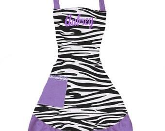 PERSONALIZED Adult Size Black, White & Purple Zebra Pattern Apron