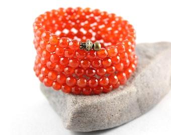 Carnelian Bracelet, Wrap Bracelet, Memory Wire Bracelet, Wrap Around Bracelet, Cuff Bracelet, Gem Cuff, Bangle Bracelet, Fertility, Yoga