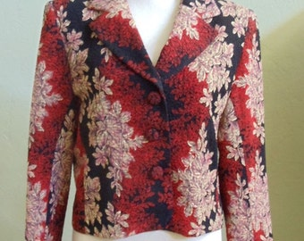 "Vintage LORIZONI 100% Silk Long Sleeved Floral Print Jacket Bust 40"" Waist 38"""