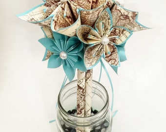 Vintage Map Bridesmaid Bouquet- 6 inch, 9 flowers, origami, custom, made to order, bride, bridesmaid bouquet, paper flowers, turquoise blue
