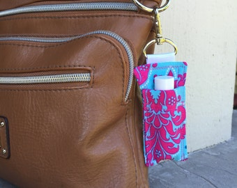 Bright Pink and Blue Damask Chapstick Cozy - Lip Balm Keychain - Chapstick Holder for Purse Diaper Bag -Lip Balm Holder -Lipstick Caddy