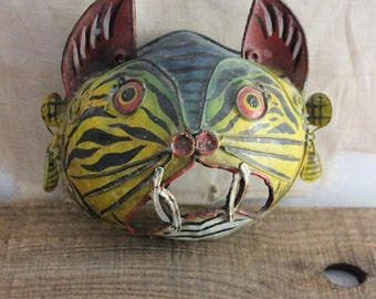 Vintage Small Mexican Folk Art Cat Mask