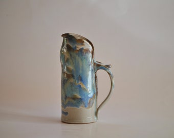 Hand Built Pottery Pitcher in Tricolor