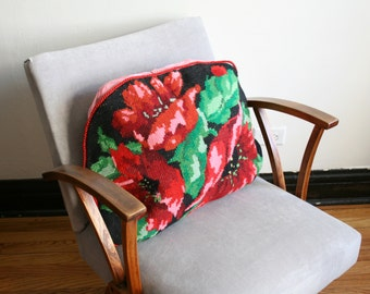 SALE Red Floral Needlepoint Pillow Cushion