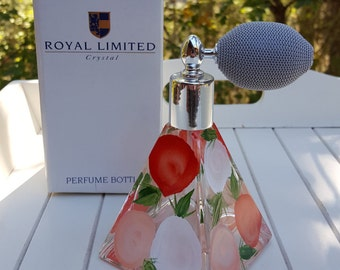 Crystal Perfume Bottle Made in Italy - Floral Motif with Atomizer - Royal Limited - Oak Hill Vintage