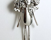 Angel Olivia Opens Herself To Life - Sterling, Sterling Silverware, And PMC - Empowerment - Angel Strength Art Jewelry Pendant - 1982