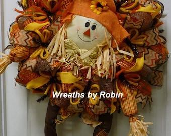 Fall Wreath, Autumn Scarecrow Wreath, Scarecrow Wreath