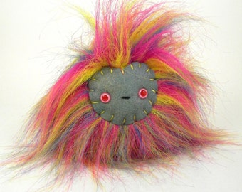 Stuffed Monster Toy - Stuffed Animal - Cute Rainbow Monster Plush - OOAK Monster Toy - Stuffed Toy Ball