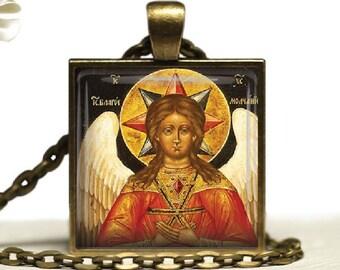 Christian Archangel Icon Glass Tile Pendant Necklace Religious  Byzantine Angel Jewelry
