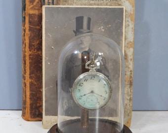 Vintage Elgin Pocket Watch in Domed Glass Cloche & Wood Display Case, Silveroid, Engraved, Original Case, 12s, 17j, Steampunk