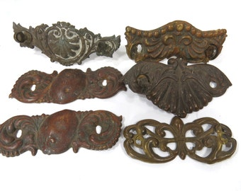 6 Vintage Escutcheon Stamped Brass Backplates, Steampunk, Victorian, Eastlake - Jewelry, Art, Assemblage