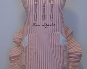 Women's Apron, Coral Pin Stripe, Shabby Cottage, French, Ruffled, Bon Appetit, Embroidered