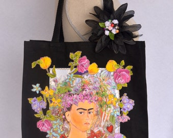 Frida Colorful Floral on Black Canvas Tote Bag with Appliqué