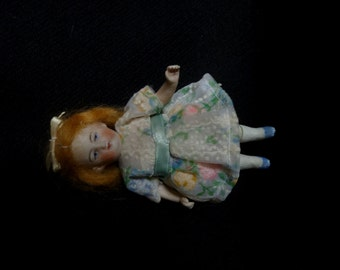 Antique All Bisque Doll House Pin Jointed German  Eyes 4 1/2""