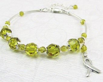 Lime Lymphoma Cancer Awareness Sterling Silver Ribbon Bracelet Liver Cancer
