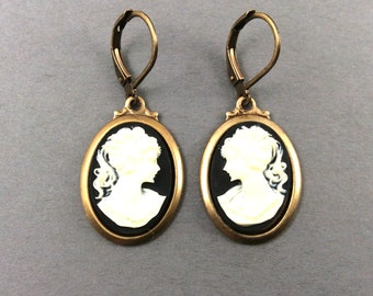 Cameo Earrings In Black And Woman In Ivory On Vintage Brass Settings