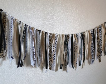 Safari Animal Print Ribbon Banner/Party or Nursery Decoration/Photo Prop