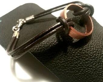 Upcycled Copper Leather Bracelet Mens Jewelry Boyfriend Gift Teen Boy Guy Bracelet Trending Jewelry