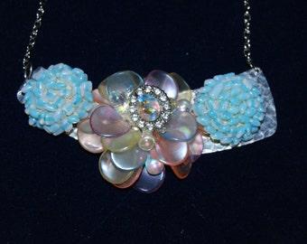 Flower Statement Necklace Jewelry Costume Custom Blues Pendants