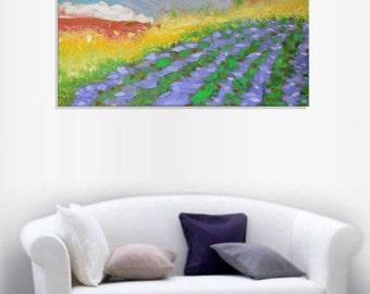 Lavender field - art village valley relax painting wall decor field hanging art light green canvas original painting landscape impasto oil