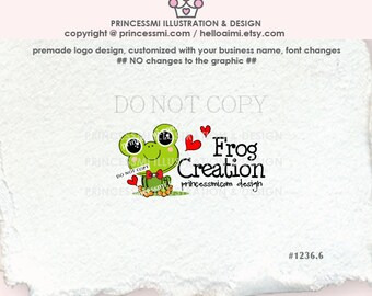 1236-6 frog logo, Custom Premade Logo Design - sketch hand drawn little frog logo photography