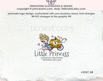 1257-10, premade logo, PRINCESS Logo Design, Sketch Pumpkin Carriage logo, girl boutique , kids business , party shop logo, cute