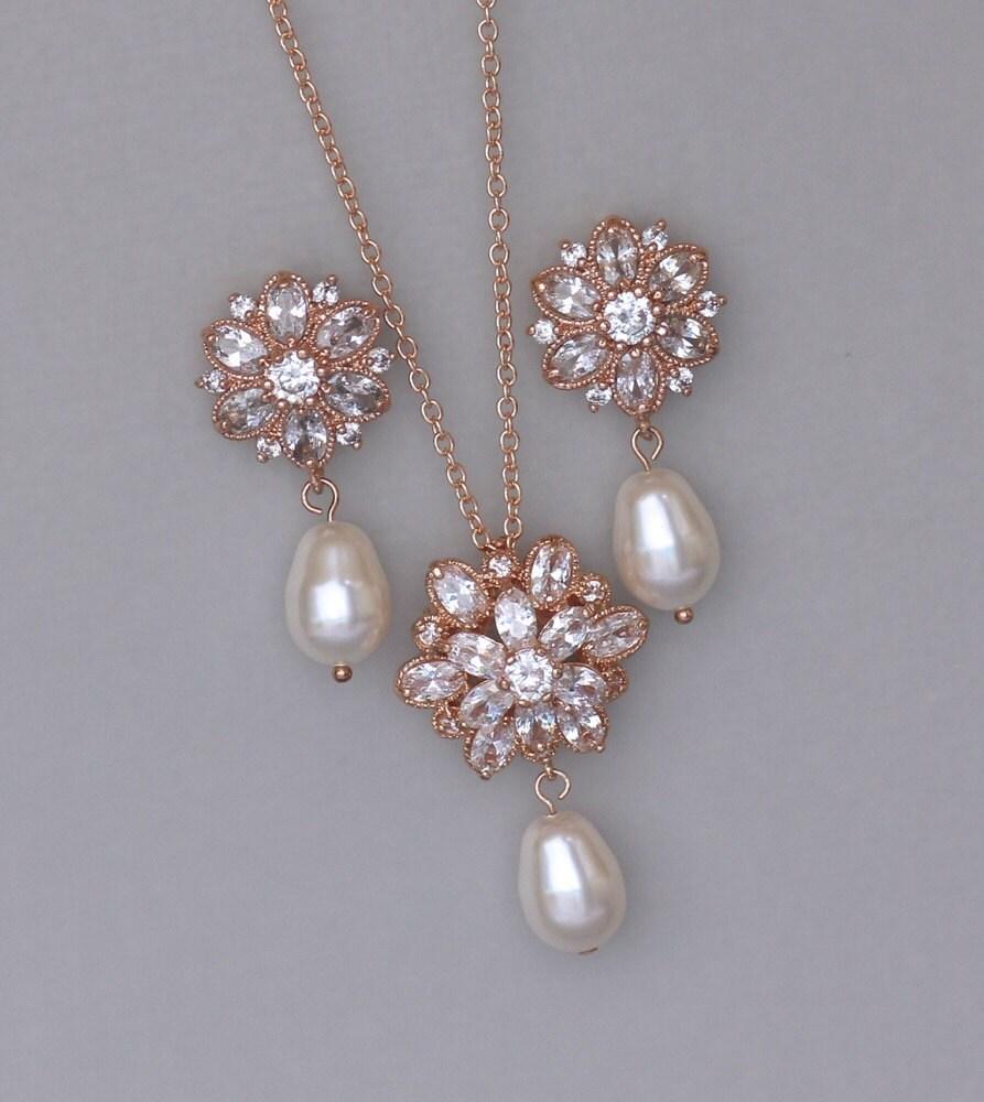 crystal jewelry set rose gold bridal set rose gold jewelry. Black Bedroom Furniture Sets. Home Design Ideas