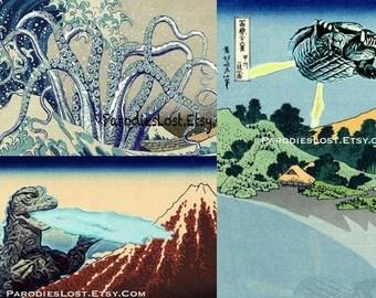 KAIJU Gift Set of 3 Prints Gamera Godzilla Cthulhu Great Wave Hokusai Japan Holiday Manga Mt. Fuji