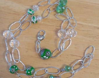 Gorgeous Green Bead and Chain Lanyard