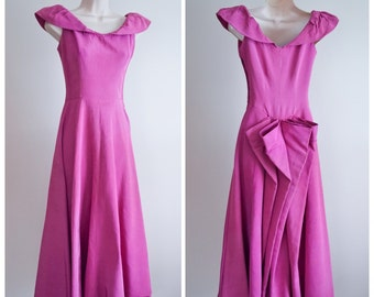 1930s 40s Berry pink faille gown, with bow bustle back / 30s evening dress XXS XS