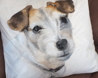 Hand Painted Pet Pillow • Custom Pet Portrait • Dog Portrait Pillow • Original Pet Painting on Pillows • 18x18 Size • Made to Order