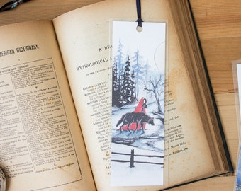 Red's Wolf Bookmark - Fairy Tale, Red Riding Hood and the Wolf illustration bookmark