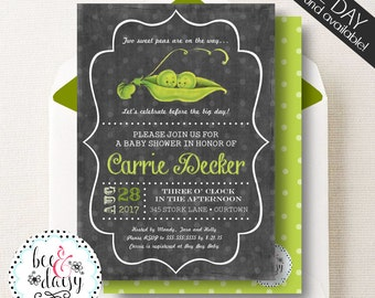 Pea Pod Baby Shower, Pea Pod Baby Shower Invitation, Twins Baby Shower, Triplet Baby Shower, Single Baby Shower, Peas in a Pod, BeeAndDaisy