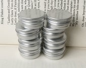 small metal tins, blank round silver color, 10ml screw lidded, 6 tin boxes, small storage for diy project