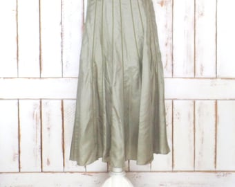 Vintage light sage green silk high waist maxi skirt/boho/ hippie festival skirt/medium