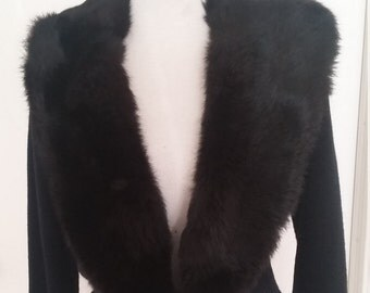 Vintage 50s black cardigan sweater with fur collar  sz med M pin up mad men style