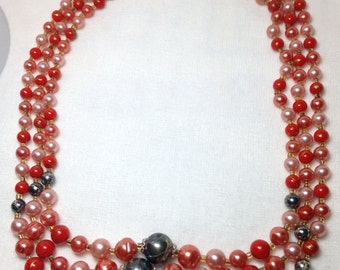 Pink, Red, Black Bead Necklace // Three Strand // Japan // Vintage