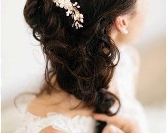 Wedding Headpiece, Gold Bridal Hair Comb, Gold Bridal Hairpiece, Pearl Hair Comb, Bridal Head Piece, Floral Hair Comb, Floral Hairpiece