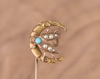 Victorian Fly in Moon Custom Conversion 10k Gold Stick Pin Ring or Necklace