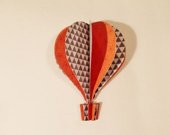"5"" 3d Hot Air Balloon -     orange stars gray geometric design"