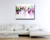Abstract Canvas Print, Large Giclee Print from Painting, Wall Art, Large Painting, Modern Colourful Art, pink, green, purple, white abstract