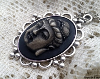 Buddha cameo necklace, Zen Art Nouveau Victorian Gothic 3D cameo pendant, Unisex jewelry, buddhism tranquility, spiritual om, ganesh wiccan