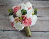 Peony Bouquet - Peony Ranunculus Rose Garden Wedding Bouquet