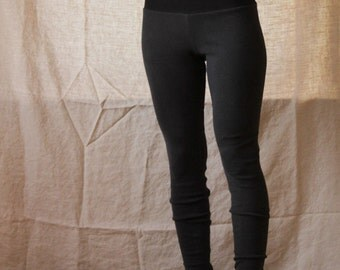 Organic High Waisted Leggings- Hemp and Organic Cotton Rib Knit