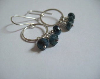 Blue Earrings Sterling Silver Jewelry Apatite Semiprecious Gemstone Jewelry Handmade Hoop Earrings