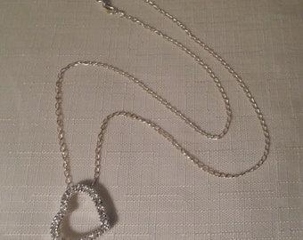 STERLING NECKLACE / Heart / CZ Rhinestones / 925 / Modernist / Art Moderne / Fashionista / Trendy / Retro / Wedding / Bridal / Hip Accessory