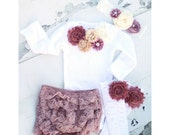 Baby Girl Christmas Holiday Outfit. Mauve, Wine, Ivory Cream Lace Gift Set. Floral Bodysuit, Diaper Cover, Ruffle Rose Leggings,Headband