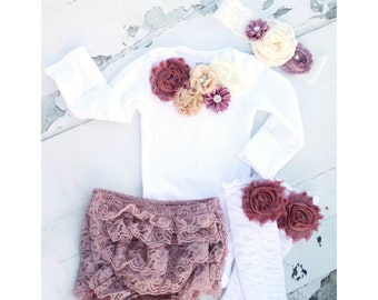 Baby Girl Summer Boho Chic Outfit. Mauve, Wine, Ivory Cream Lace Gift Set. Floral Bodysuit, Diaper Cover, Ruffle Rose Leggings, Headband